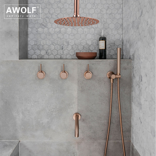 "Bathroom Shower Set Brushed Rose Gold Simplicity Solid Brass 8"" Shower Head Faucet Mixer Tap Shower Bath Black Chrome AH3023"