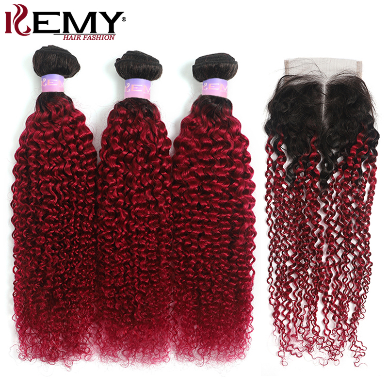 Ombre Kinky Curly Human Hair Bundles With Closure 4x4 KEMY 1B/Burgundy 3PCS Brazilian Hair Weave Bundles With Closure Non-Remy