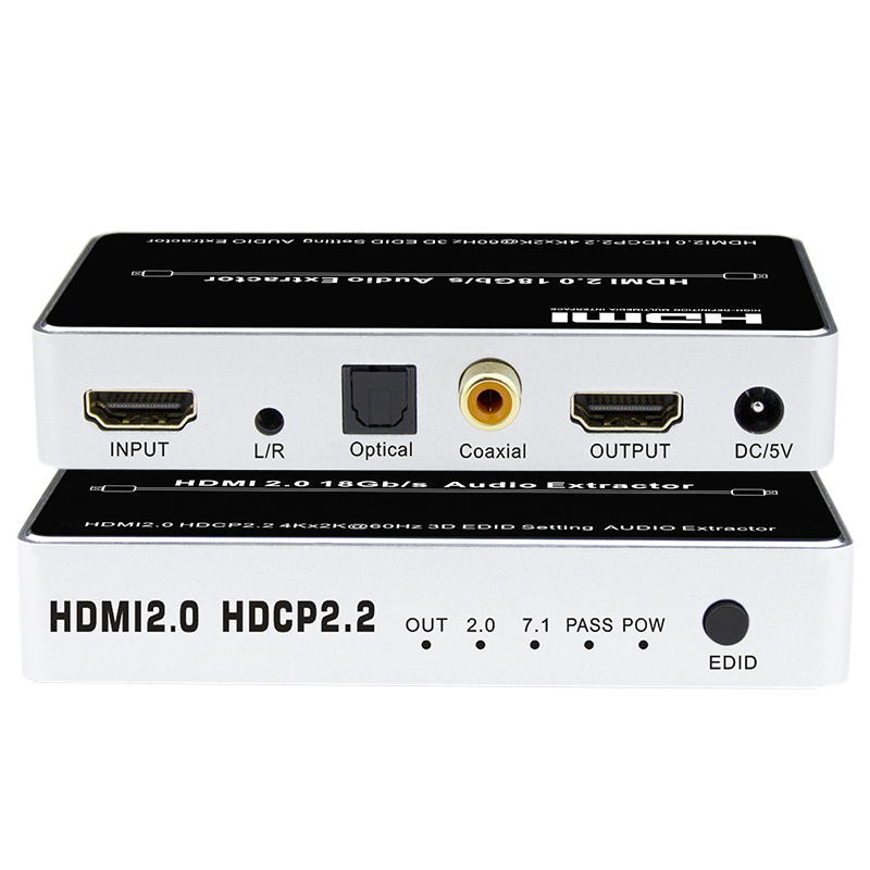 HDMI 2.0 Audio Extractor 7.1Ch 4K 60Hz HDMI Switcher Audio Splitter 1X1 HDMI 5.1Ch HDMI Toslink Audio(EU Plug)