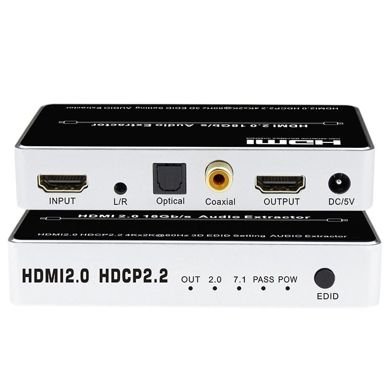 HDMI 2.0 Audio Extractor 7.1Ch 4K 60Hz HDMI Switcher Audio Splitter 1X1 HDMI 5.1Ch HDMI Toslink Audio(EU Plug)