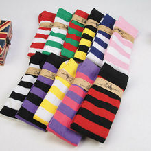 Новые женские носки Модные Полосатые чулки повседневные хлопковые облегающие Высокие гольфы повседневные женские длинные гольфы для девочек