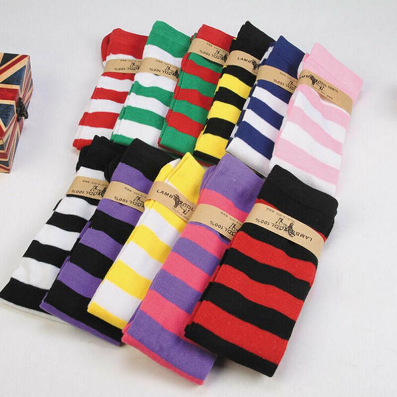 New Women Socks Fashion Stripe Stockings Casual Cotton Thigh High Over Knee High Socks Casual Girls Womens Female Long Knee Sock