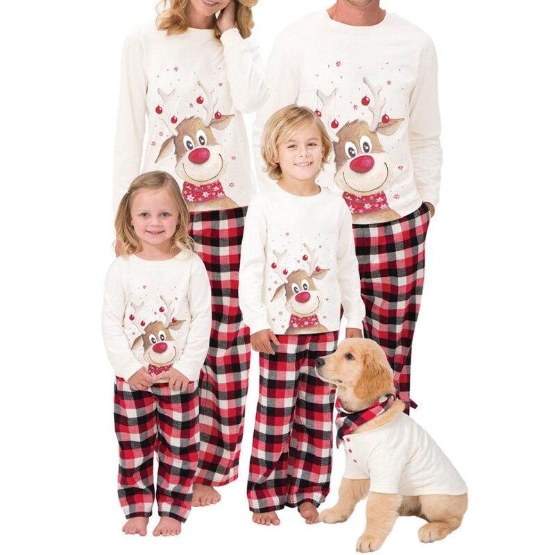 Christmas Family Matching Pajamas Outfits Set Dad Mum Kids Baby XMAS PJs Cute Party Nightwear Pyjamas Cartoon Deer Sleepwear