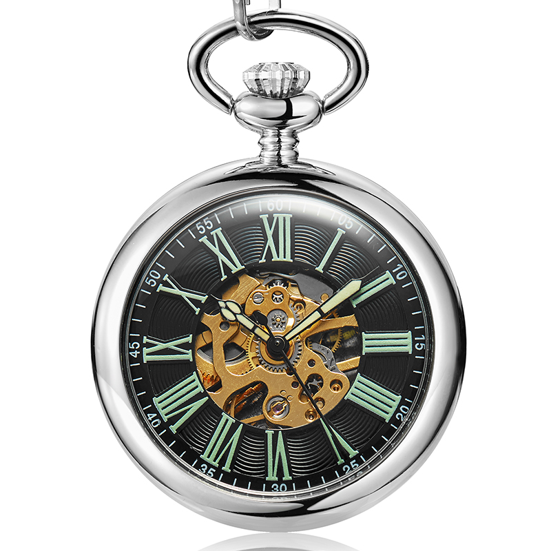 Vintage Mechanical Pocket Watch Men Hollow Skeleton Unique Roman Numerals Steampunk Silver Hand-winding Fob Watches With Chains