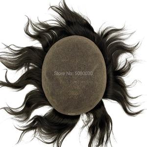 Image 2 - Супер тонкий 100% remy человеческие волосы дышащий полный швейцарский кружевной парик для лысых мужчин