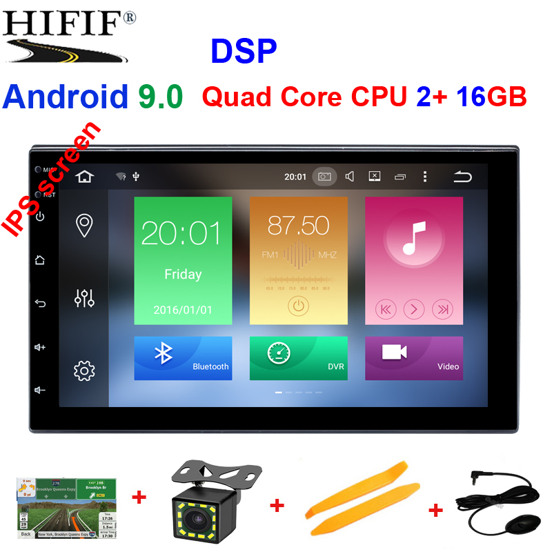 Quad Core RAM 2G ROM 16G <font><b>2</b></font> <font><b>Din</b></font> Android 9.0 Universal Car Audio Stereo Radio With GPS WiFi GPS Navigation Video Head Unit image