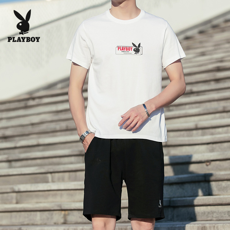 Play PLAYBOY Teenager Xue Sheng Kuan Korean-style Slim Fit Shorts Sports Clothing Set