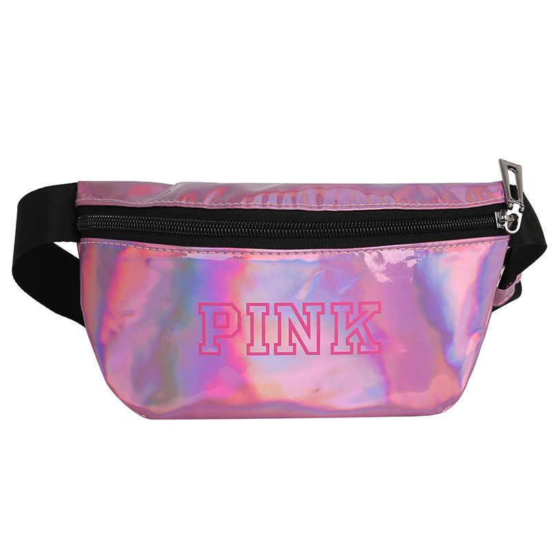 ใหม่ Holographic สีชมพู Fanny Pack กระเป๋าเข็มขัดเอวกระเป๋า Pu กระเป๋าหน้าอกกระเป๋า Travel Silver เอวแพ็คกระเป๋าขา