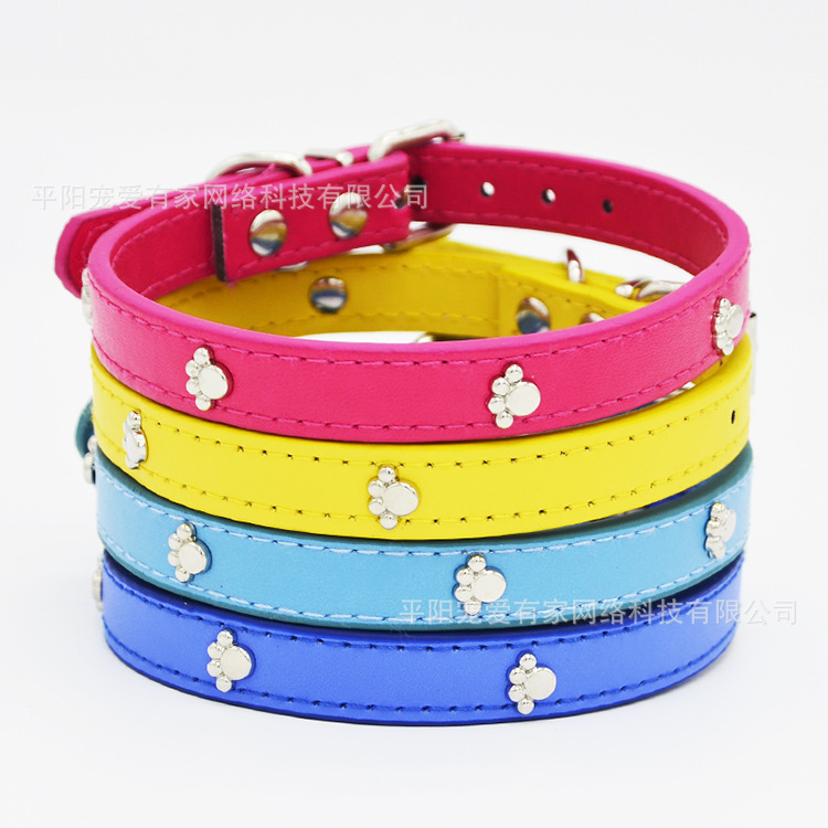 Spring New Style Pet Dog Collar Pu Neck Ring A Large Amount Currently Available 4 Footprints Leather Pet Dog Neck Ring Nursing B