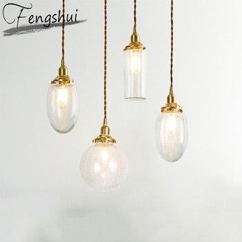 Nordic Copper Pendant Lights Lamp Glass Hanging Lamp LED Pending Lighting Living Room Dining Room Bedroom Loft Home Deco Light