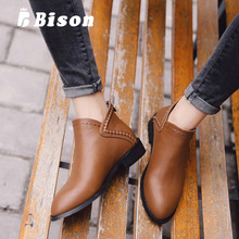 Bison Women Ankle Boots Autumn Martin High Heels Round Head Sexy Ladies Leather Shoes Zipper Snow