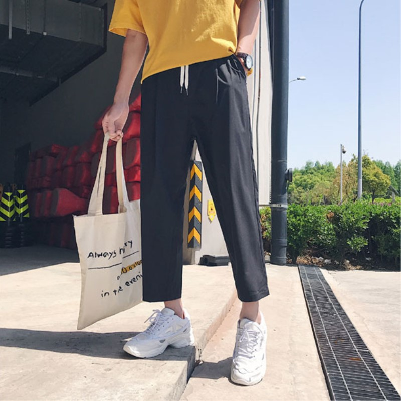 Zogaa 2019 New Men's Straight-leg Pants Ankle-Length Pants Korean Style Casual Loose Pants Wild Leg Joggers Straight Trousers
