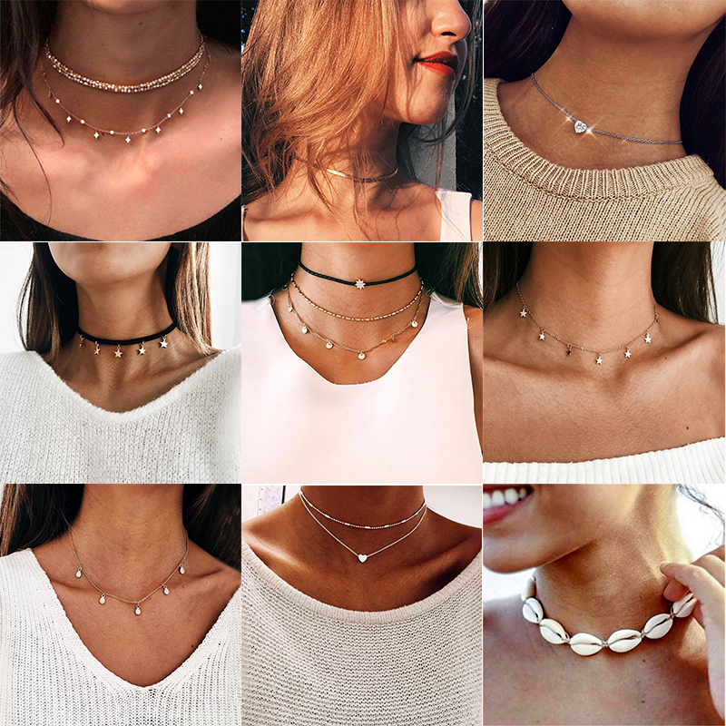 Choker Collar Gold Star Necklace Women Statement Crystal Pendant Chain Layered Necklace Accessories Jewelry