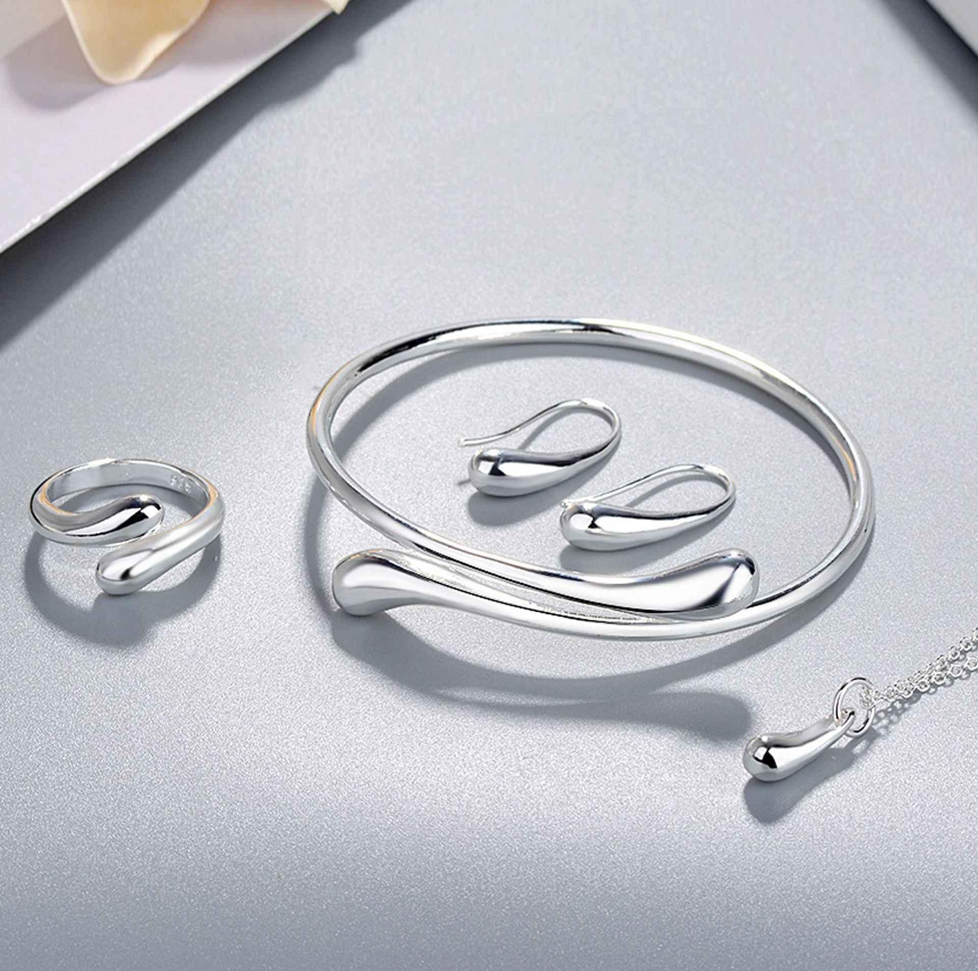 Conjunto de joyas de plata de ley 925, Gargantilla de compromiso nupcial, collar de cadena, pendiente, anillo, pulsera para mujer, regalo de joyas de fiesta jz370