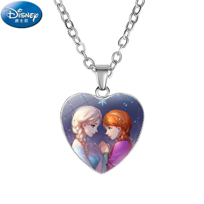 Disney New Cartoon Princess Frozen Doll Esha Heart-shaped Hanging Children's Necklace Snow White Mermaid Accessory Girl Toy Gift