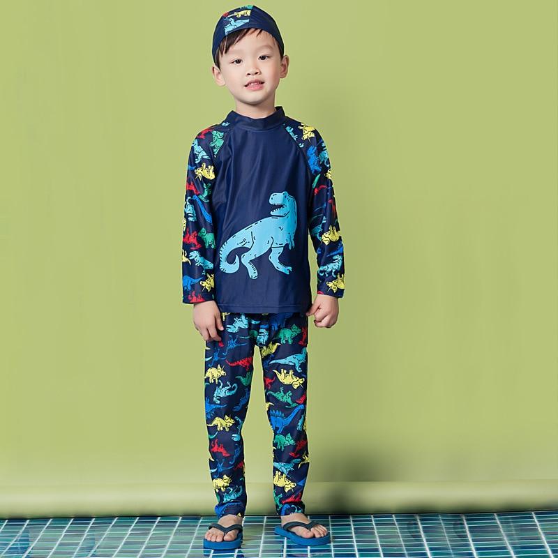 New Style Korean-style KID'S Swimwear BOY'S Cartoon Dinosaur Sun-resistant Long Sleeve Trousers Split Type Spa Resort Swimwear W