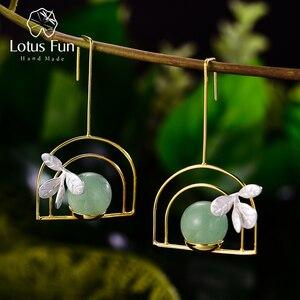 Lotus Fun, оригинальные висячие серьги с натуральным драгоценным камнем, висячие серьги с растительным горшком, настоящее 925 пробы, серебряные с...