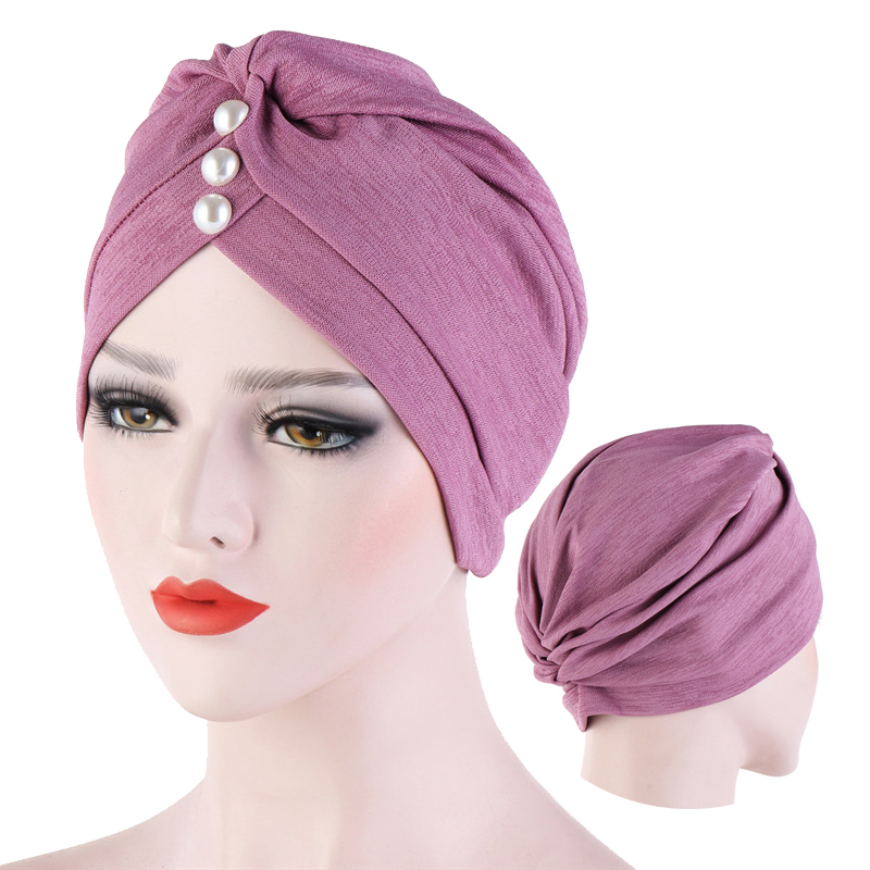 Fashion Solid Color Inner Hijab For Women Forehead Cross Crinkled Muslim Turban Hijab Caps With Pearl Islamic Wrap Indian Bonnet