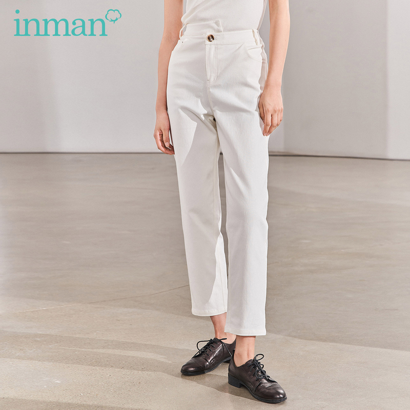 INMAN 2020 Spring New Arrival Micro Elastic Comfortable Straight Personality Fashion All-match Ankle-length Pant
