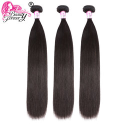 BEAUTY FOREVER 3 Bundles Straight Peruvian Hair Weaves 100% Remy Human Hair Weft 8-30inch Natual Color Free Shipping