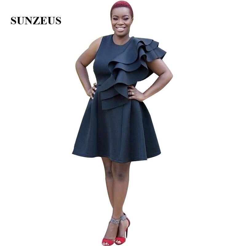 Robe de bal courte noire une ligne débardeur femmes africaines robes de fête avec des volants vestidos de gala