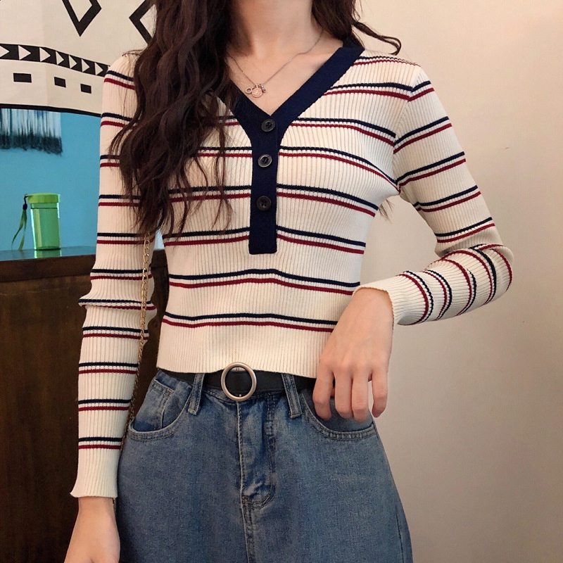 Retro chic women's sweaters striped v neck korean style ladies slim fit jumpers autumn female clothes pull pullover