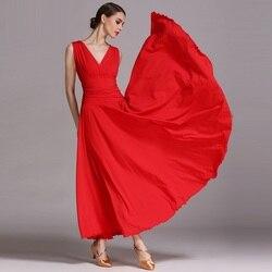 Robe de danse de salon femmes rouge Costume glace soie sans manches col en V valse robes de soirée danse de salon Performance