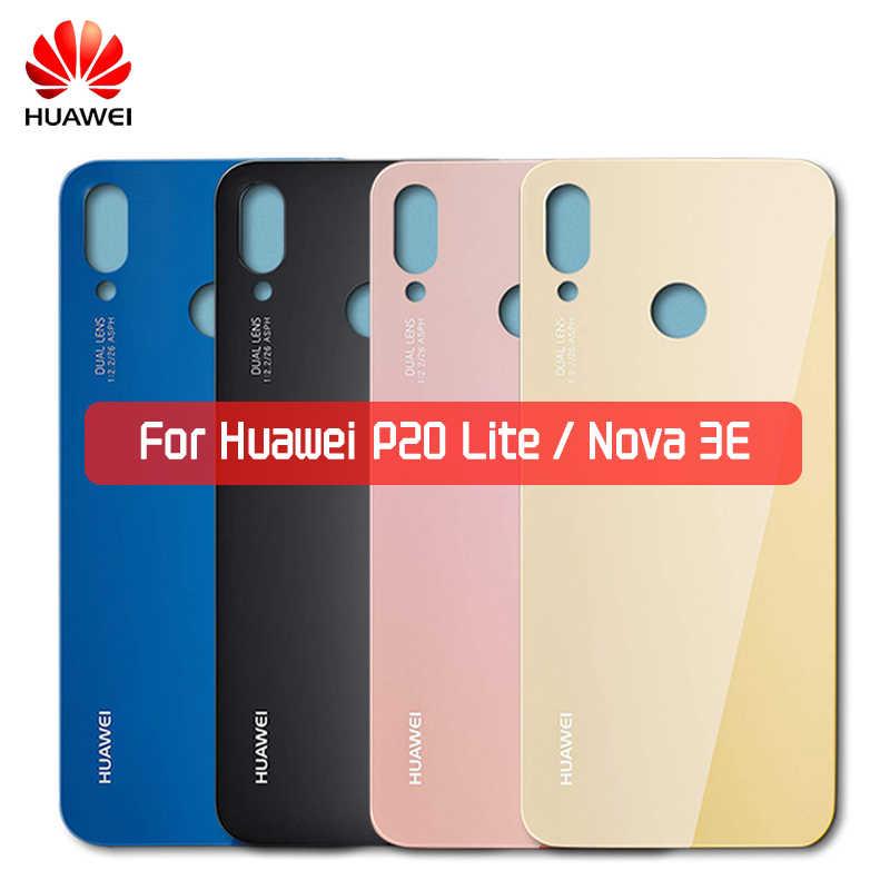Cubierta trasera de cristal de la batería de Huawei con la lente de la cámara para P20 Lite Nova 3e carcasa de la puerta trasera cubierta de reemplazo del Panel