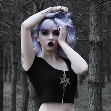 Imily Bela Gothic Crop Top T Shirt Women Summer Short Sleeve Zipper Balck Short T-shirt Sexy O Neck Pentagram Skinny Tshirt Tee недорого