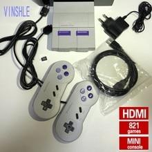 Consoles de jogos de vídeo da tevê de hdmi snes consoles de jogos de 8 bits com 821 consolas de jogos do sfc para jogos de snes jogador duplo do gamepad pal e ntsc