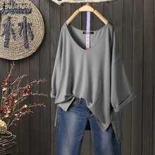 Damska jednokolorowa bluza 2021 moda ZANZEA w stylu Casual, letnia jesienne topy 3/4 rękaw koszule damskie V Neck Split Blusas Plus Size tunika