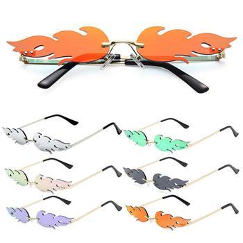 Motor/Bike 2020 NEW Fashion Fire Flame Sunglasses Women Men Rimless Sunglasses Women Mirror Rectangl