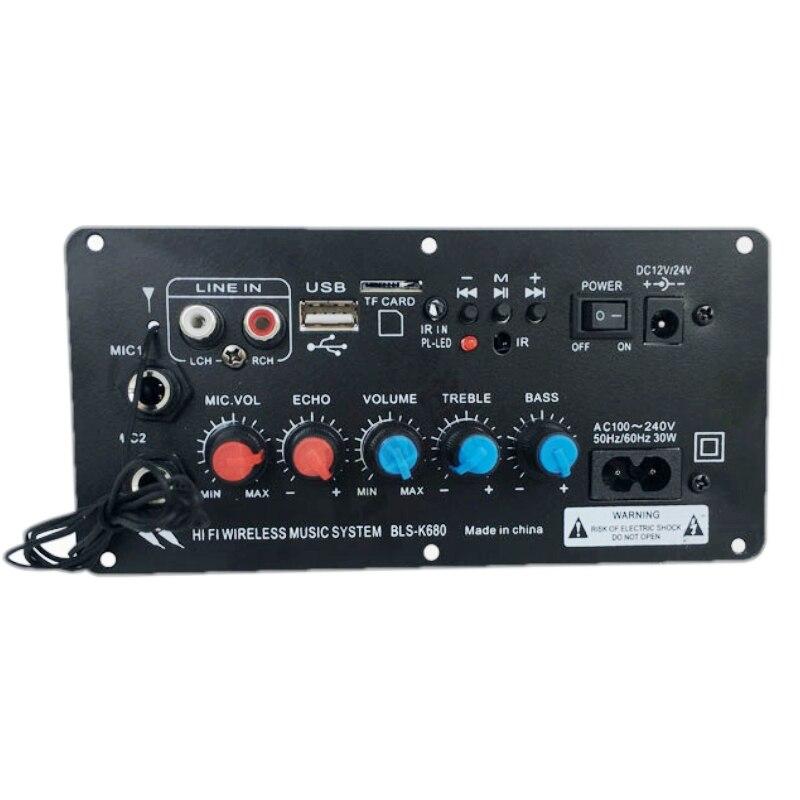 AC 220 В 12 В 24 в цифровой Bluetooth стерео усилитель плата сабвуфер двойной микрофон караоке усилители для 8 12 дюймов динамик|Усилители мощности|   | АлиЭкспресс