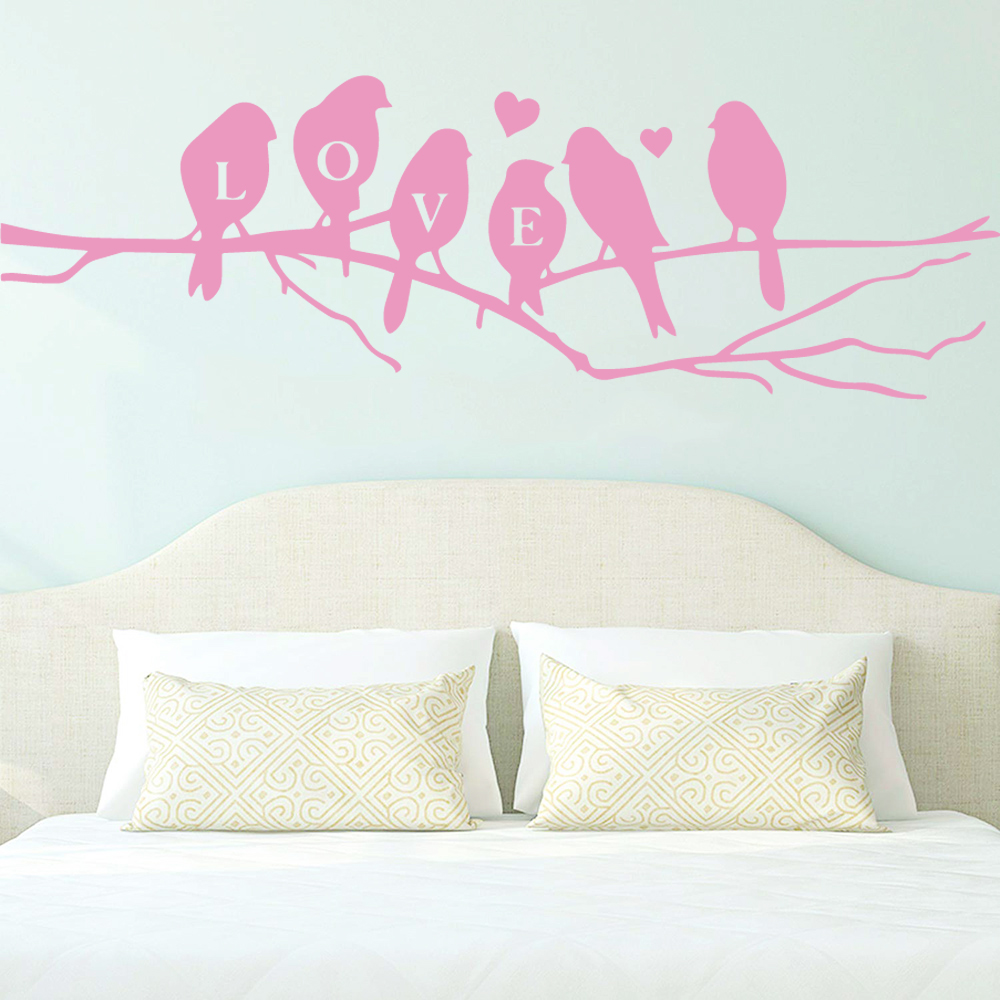 Cartoon Style love bird Home Decor Vinyl Wall Stickers For Kids Rooms Diy Home Decoration Wall Art MURAL Drop Shipping