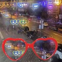 Gafas de amor con forma de corazón, con efecto especial, cambio de forma de corazón por la noche, coloridas, regalos suministros de fiesta
