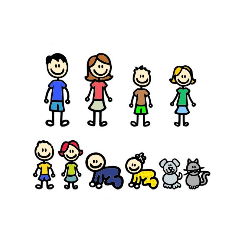 SZWL наклейка на машину моя семья аниме большая семья собака Кот мультфильм наклейка s виниловые водонепроницаемые наклейки для автомобилей ...
