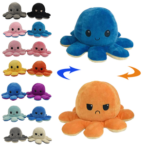 Flip Octopus Stuffed Plush Doll Different Sides To Show Different Moods Soft Simulation Reversible Plush Toy Marine Life Doll