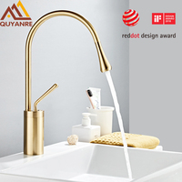 Modern Brushed Gold Basin Faucets Single Handle 360 Rotation Mixer Tap Washbasin Water Crane For Bathroom Vessel Sink Faucets