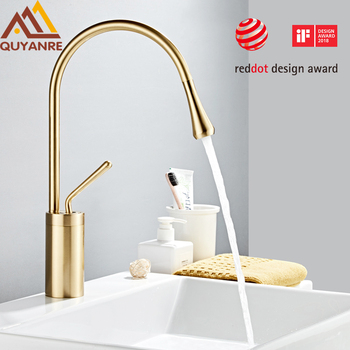 Modern Brushed Gold Basin Faucets Single Handle 360 Rotation Mixer Tap Washbasin Water Crane For Bathroom Vessel Sink Faucets 1