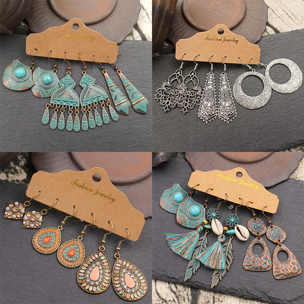 LATS Boho Ethnic Silver Color Earrings Set for Women Vintage Wood Tassel Dangle Earring 2020 New Fashion Earings Brincos Jewelry