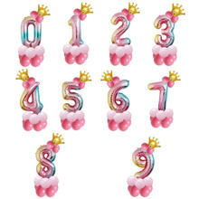 14pcs 32inch  Gradient Color Happy Birthday Decorations Foil Balloon Rainbow Number Crown Balloons Wedding Party D30