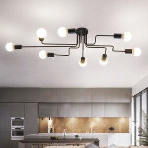 Image 2 - 現代の led シャンデリア照明器具ブラック鉄 4 6 8 支店天井シャンデリアヴィンテージ工業ランプリビングルームのベッドルーム