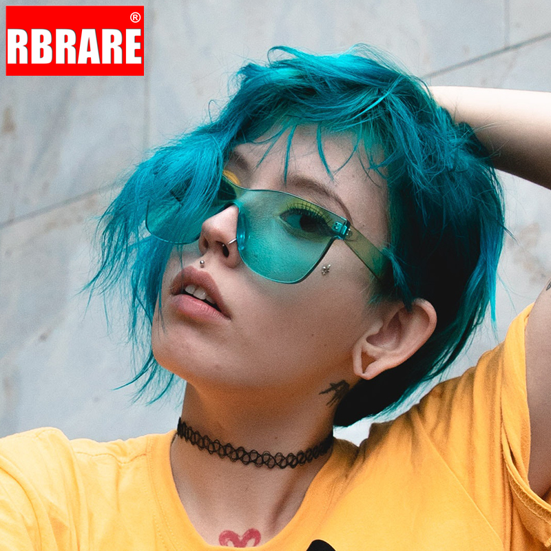 RBRARE Candy Color Sunglasses Women High Quality Rimless Sun Glasses Modis Transparent Street Beat Vacation Okulary