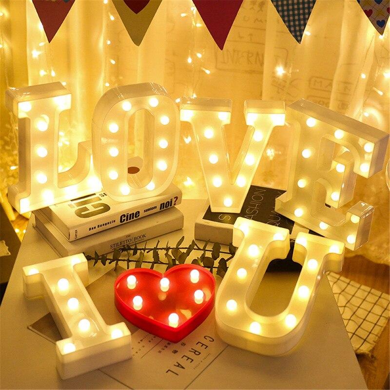 Alfabeto Lettera Numero di Luci A LED Luminoso Della Lampada Della Decorazione Luce di Notte Della Batteria Festa di Camera Da Letto di Nozze Di Compleanno Della Decorazione Di Natale