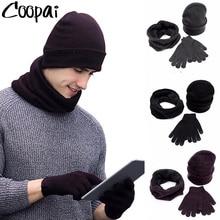Gloves-Set Scarf-Set-Kit Hats Beanies Knitted Winter Fashion Men Velvet Male Plus