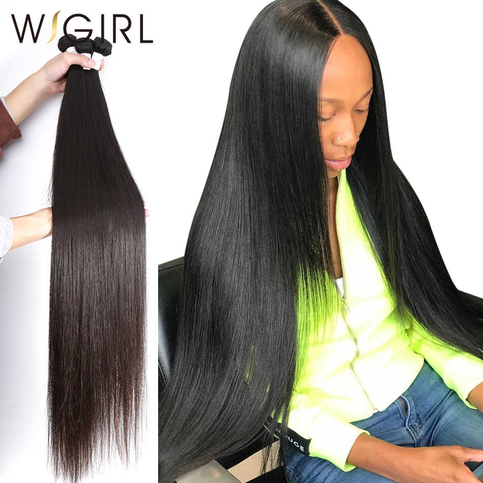 Wigirl 28 30 32 40 Inch Long Remy Indian Human Hair Weave Straight 1 3 4 5 Bundles Deal Super Double Drawn Natural Vendors