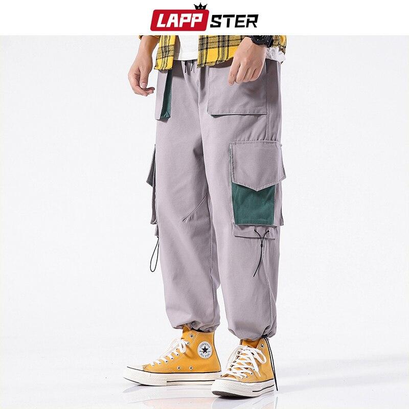 LAPPSTER Men Big Pocket Harem Pants Sweatpants 2019 Overalls Men Streetwear Joggers Pants Baggy Khaki Harajuku Cargo Pants 5XL