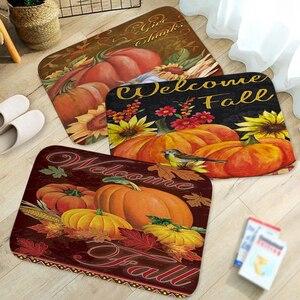 Halloween Autumn Pumpkin Wellcome Fall Printed Doormat Baby Bedroom Carpet for Bedroom Kitchen Door Decorative None-slip Doormat
