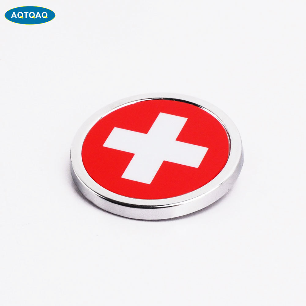 1 Pcs Car Exterior Accessories Switzerland Flag Sticker Metal MINI Round Emblem For Toyota Rover Dodge Skoda(China)