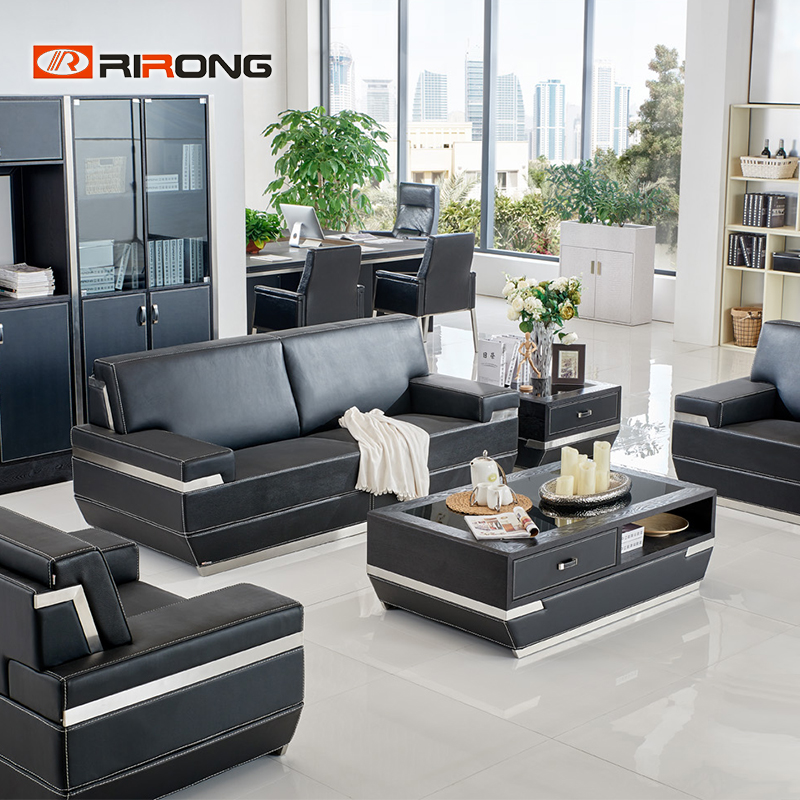 Luxury VIP Office Boss Manager Room Black Leather Modern Style SOFA Coffee Table Set